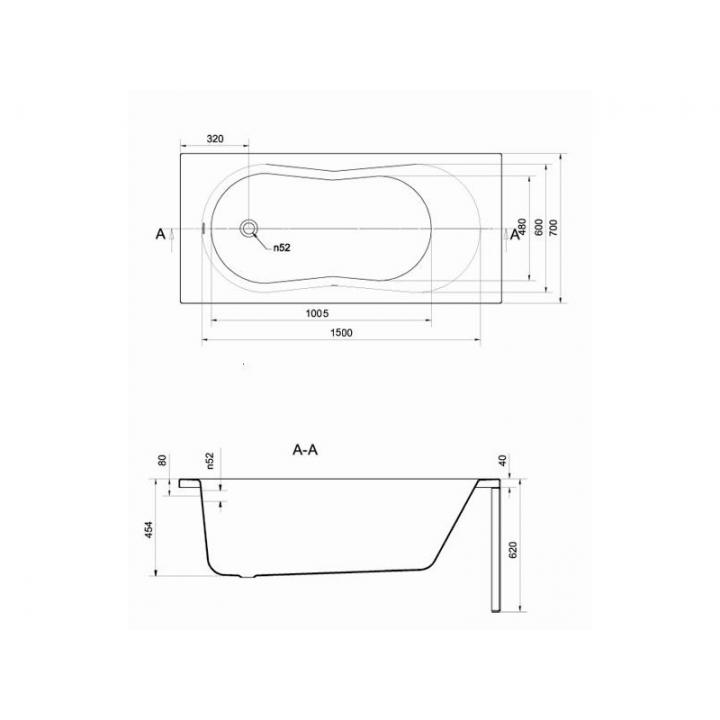 Ванна Cersanit ABS NIKE 150 X 70 S301-246