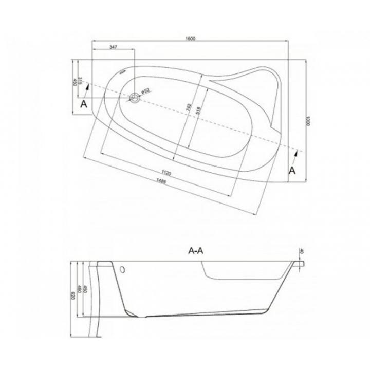Ванна Cersanit SICILIA 160 x 100 асимметричная, Левая S301-036