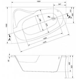 Ванна Cersanit SICILIA 150 x 100 асимметричная, правая S301-096