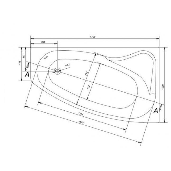 Ванна Cersanit SICILIA 170 x 100 асимметричная, правая S301-098