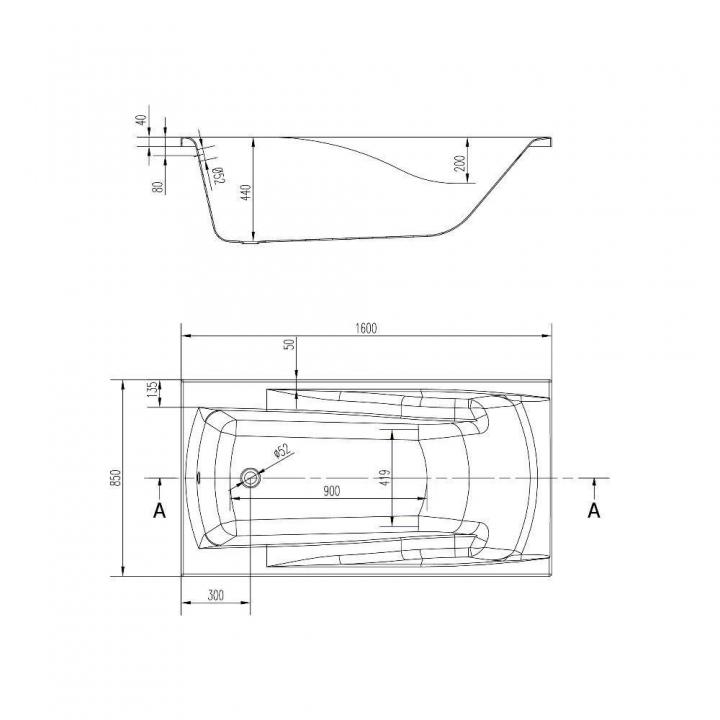 Ванна Cersanit ZEN 160 x 85 прямоугольная S301-127