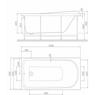 Каркас для ванны AM.PM Like 150х70 W80A-150-070W-R
