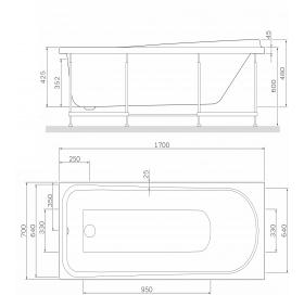 Каркас для ванны AM.PM Like 170х70 W80A-170-070W-R