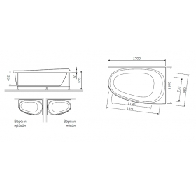 Каркас для ванны AM.PM Like 170х110 правосторонний W80A-170R110W-R
