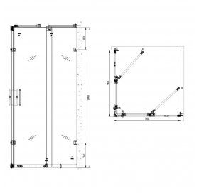 Душевая кабина APPOLLO 900*900*1900, без поддона, стекло с узором Fylfot, TS-6360
