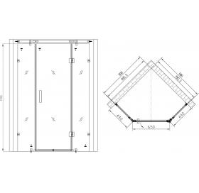 Душевая кабина пятиугольная APPOLLO 900*900*1900, без поддона, стекло с цветочным узором, TS-6371
