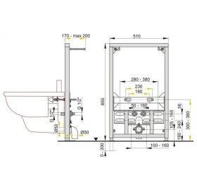 Alcaplast A105/850 инсталляция для биде (85 см)