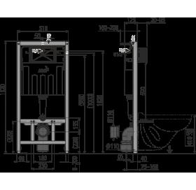 Скрытая система инсталляции Alcaplast AM101/1120 1120x150x520 для гипсокартона