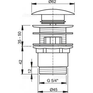 Донный клапан для умывальника AlcaPlast A390 цельнометаллический с большой заглушкой