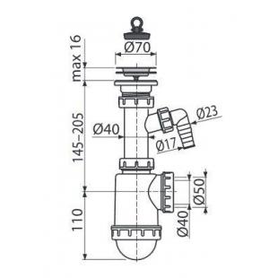 Сифон Alcaplast A441-DN50/40 для мойки c нержавеющей peшёткой