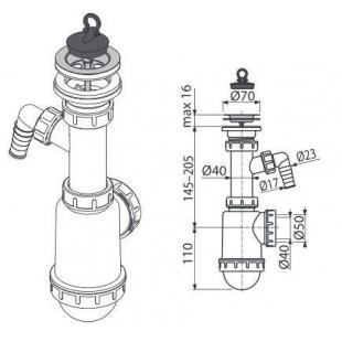 Сифон Alcaplast A441P-DN50/40 для мойки с нержавеющей решёткой d70