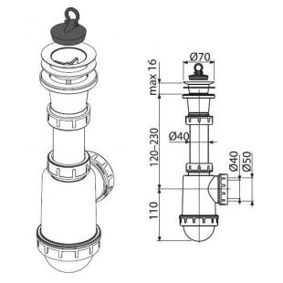 Сифон Alcaplast A442-DN50/40 для мойки c пластмассовой решёткой