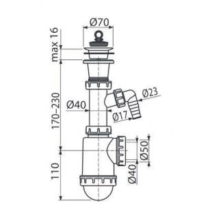 Сифон Alcaplast A442P-DN50/40 для мойки c пластмассовой решеткой