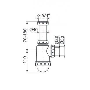 Сифон Alcaplast A443-DN50/40 для мойки с накидной гайкой 6/4