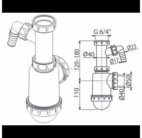 """Сифон Alcaplast A443P-DN50/40 для мойки с накидной гайкой 6/4"""" и подводкой"""