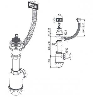 Сифон Alcaplast A444-DN50/40 для мойки с нержавеющей решёткой d70 и гофропереливом