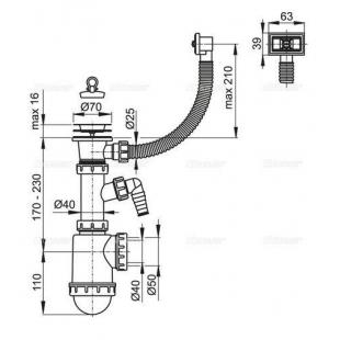 Сифон Alcaplast A444P-DN50/40 для мойки с нержавеющей решёткой d70 гофропереливом и подводкой