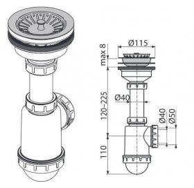 Сифон Alcaplast A446-DN50/40 для мойки с нержавеющей решёткой d115