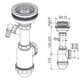 Сифон Alcaplast A446P-DN50/40 для мойки с нержавеющей решёткой d115