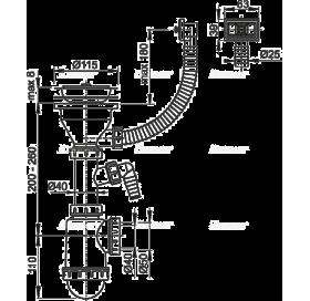 Сифон Alcaplast A447P-DN50/40 для мойки с нержавеющей решёткой d115 и гофропереливом и штуцером