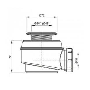 Сифон ALCAPLAST A46-50 для душевого поддона с нержавеющей решеткой