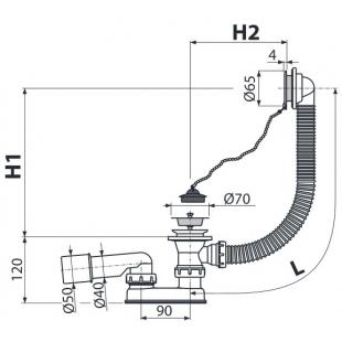 Сифон Alca Plast для ванны, хромированный, A501