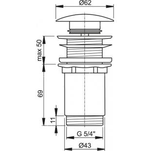 Донный клапан для умывальника Alca Plast Сlick-clack, A395