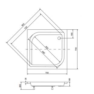 Поддон акриловый квадратный BESCO PMD PIRAMIDA ARES 70Х70Х15/25 + ножки, NAVARA20729