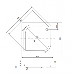 Панель акриловая для поддона BESCO PMD PIRAMIDA ARES 80Х80Х25, BCPares80