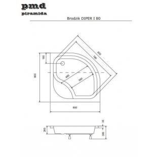 Панель акриловая для поддона BESCO PMD PIRAMIDA DIPER-1 80Х80Х/38, BCPdiper1/80