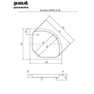 Панель акриловая для поддона BESCO PMD PIRAMIDA DIPER-2 80Х80Х25