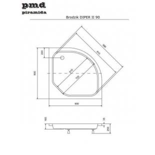 Поддон акриловый полукруглый BESCO PMD PIRAMIDA DIPER-2 90Х90Х15/25 + ножки, NAVARA17842