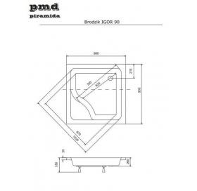 Панель акриловая для поддона BESCO PMD PIRAMIDA IGOR 90Х90Х35, BCPigor90