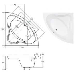 Ванна акриловая BESCO MIA 130x130 NAVARA01328