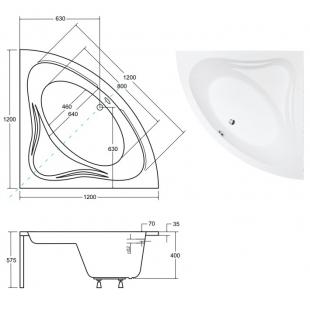 Ванна акриловая BESCO MIA 120x120 NAVARA01913