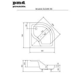 Панель акриловая для поддона BESCO PMD PIRAMIDA OLIVER 1 90Х90Х15, BCPoliver1/90