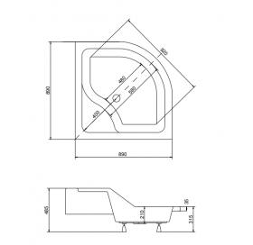 Панель акриловая для поддона BESCO PMD PIRAMIDA OLIVER 2 90Х90Х28, BCPoliver2/90