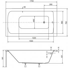 Панель для ванны BESCO PMD PIRAMIDA TALIA 170х75 (передняя+боковая), TALIA/170/75