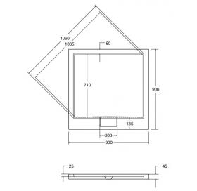 Поддон акриловый квадратный BESCO AXIM 90х90 stone effect серый + сифон, NAVARA35879
