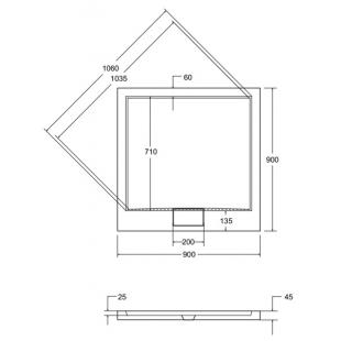 Поддон акриловый квадратный BESCO AXIM 90х90 stone effect серый + сифон, NAVARA14723
