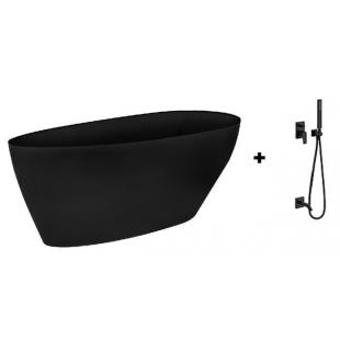 Ванна Besco PMD Piramida GOYA Black 160x70 + Смеситель для ванны Tres Project-tres, 21118003NM