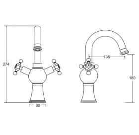 Смеситель для умывальника Besco RETRO II хром