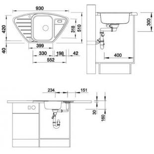 Кухонная мойка Blanco LANTOS 9 E-IF 516277