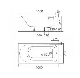Ванна Colombo ACCENT 160 X 70 прямоугольная с ножками SN7
