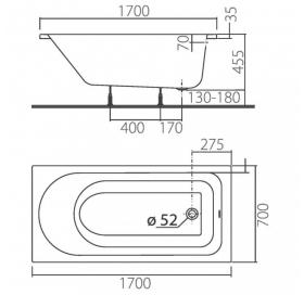 Ванна Colombo ACCENT 170 X 70 прямоугольная с ножками SN7