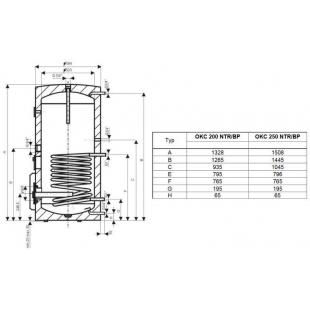 Водонагреватель косвенного нагрева Drazice OKC 250 NTR/BP model 2016, 250 л. 110970101