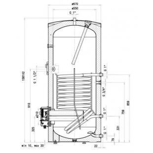 Водонагреватель косвенного нагрева Drazice OKC 300 NTR/BP model 2016, 300 л. 121070101