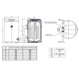 Водонагреватель косвенного нагрева Drazice OKCE 100 NTR/2,2kW model 2016, 100 л. 1108701101