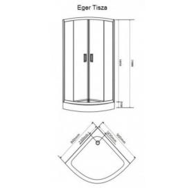 Душевая кабина Eger TISZA 90*90*200  599-021 мелкий поддон cтекло Zuzmara, белый профиль