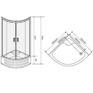 Душевая кабина Eger TISZA MELY  90*90*200  599-187  глубокий поддон стекло Zuzmara